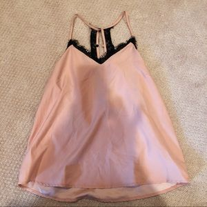Pink and black flowy silky tank top with lace